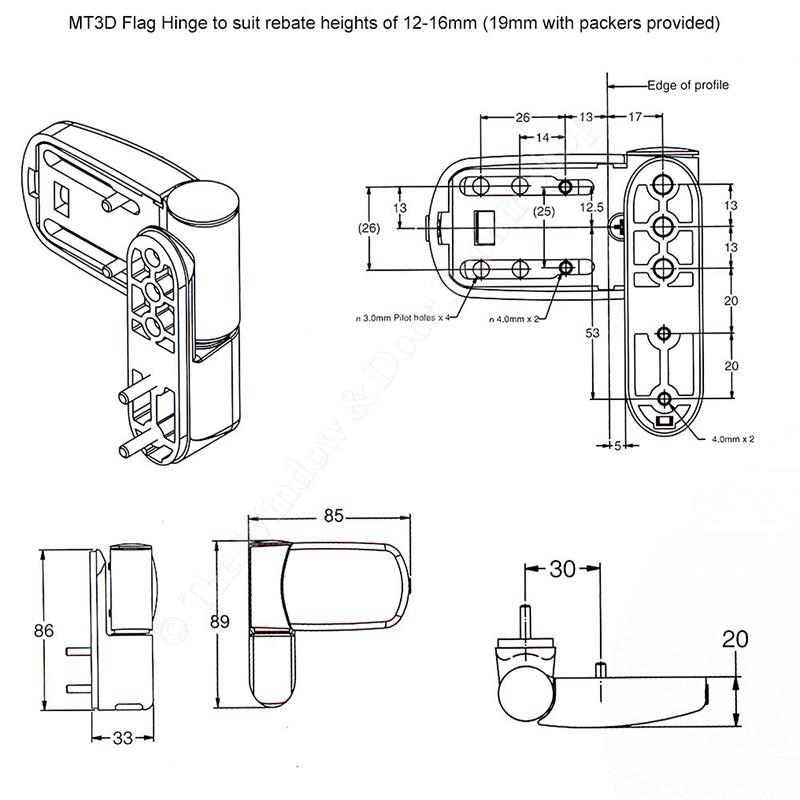 UPVC Door Flag Hinge Avocet MT3D Mini Triad Adjustable For Double Glazing Doors